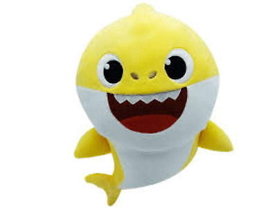 J&K Baby shark singing plush toy with lights Yellow Cartoon baby shark soft toy