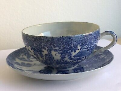 Antique Chinese-Origin Willow Pattern China Plates, Cups and Saucers