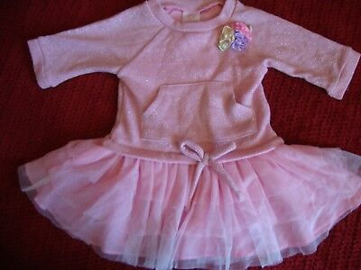 Youngland Baby Girls Pink Glitter Knit-To-Woven Tutu Tulle Easter Dress 18 Mos.