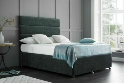 4FT6 Double Charcoal Divan Bed-Comfy Mattress-Drawers-Headboard -Free Delivery