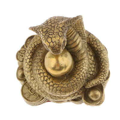 Pure Brass Snake Chinese 12 Zodiac Animal Figurine Ornament Lucky Fengshui Decor