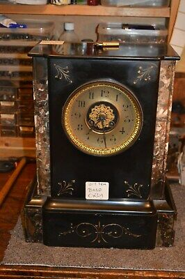 Victorian Black Slate Clock With French Movment