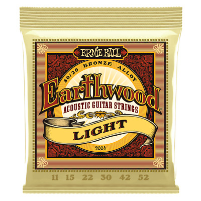 Ernie Ball Earthwood 80/20 Bronze Acoustic Guitar Strings 11-52 Light Gauge