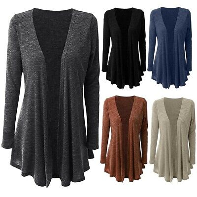 Women Plus Size Pure Color Casual Open Front Coat Cardigan Duster Jacket Outwear