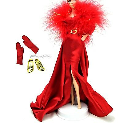 Barbie Fashion Red Charmeuse Gown Outfit Hollywood Cast Party New No Doll