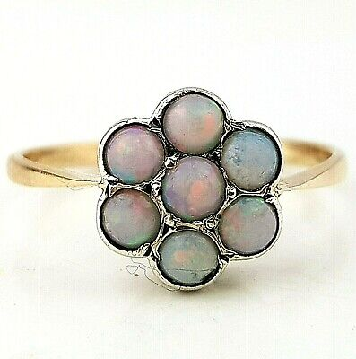 Antique Art Deco 9ct Gold Opal Daisy Ring