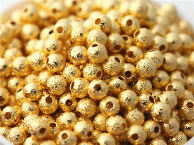 500 pcs Gold plated Matte Beads Charm Spacer Bracelet necklace DIY Findings 3mm