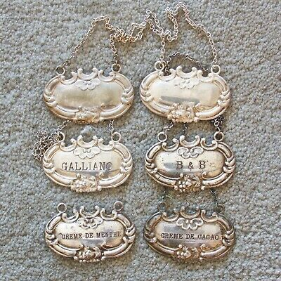 Six Sterling Silver Liquor Tags