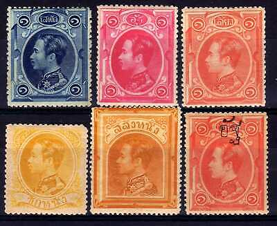 Thailand Siam 1883-9 Hinged Mint Selection, 6 Stamps