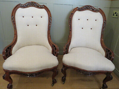 Pair 19Th C. Walnut Arm Chairs Restored & Upholstered