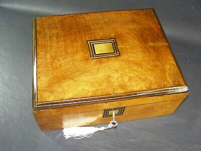 Antique Walnut Document Box Working Lock & Key c1880 Brass Center With Stringing