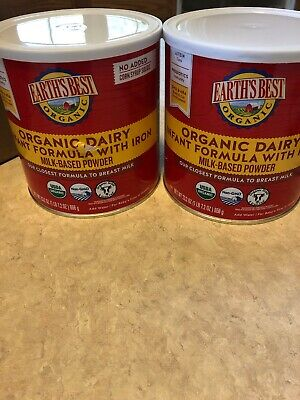 Earth's Best Organic Dairy Infant Powder Formula with Iron Omega-3 DHA 2 Pack