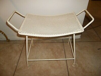 Super Vintage Mid Century Modern Vanity Mesh Curved Stool Bench Dailytribune Chair Design For Home Dailytribuneorg