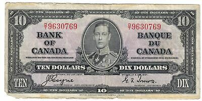 1937 Bank Of Canada Ten  $10 Dollar Bank Note Coyne/Towers