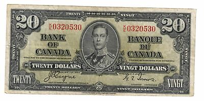 1937 Bank Of Canada Ten  $20 Dollar Bank Note Coyne/Towers  C
