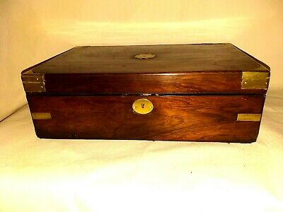 Rosewood  And Brass Writing Slope With 2 genuine Bakerlite inkwells  nice patina