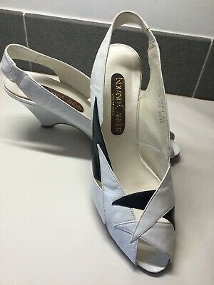 Roland Cartier White & Navy Blue Leather Slingback Wedges. Size 6UK. Ex Cond
