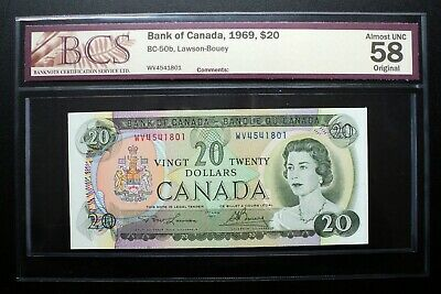 1969 BANK OF CANADA $20 Dollars *Lawson & Bouey* BCS AU58 Original BC-50b