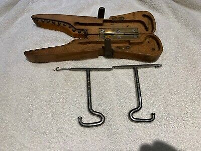 Vintage Wooden Boot Jack FoldingShoe Puller Wood Hinged with Lace pulls, MARKED