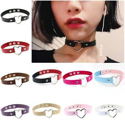 Women Punk Gothic Chain PU Leather Heart Charm Buckle Collar Choker Necklace B2
