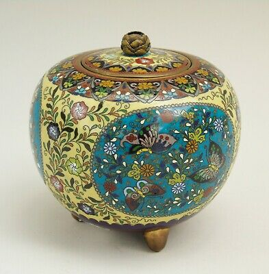 Japanese Cloisonne Spherical Lidded Ginger Jar Meiji