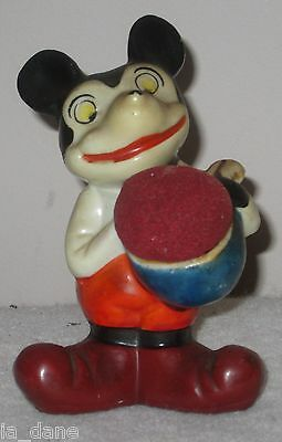Mickey Mouse Pin Cushion Bisque Porcelain Hand Painted Made Japan