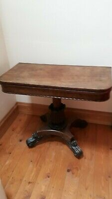 Antique Mahogany card table, beautiful condition, carved pillar leg, all origina