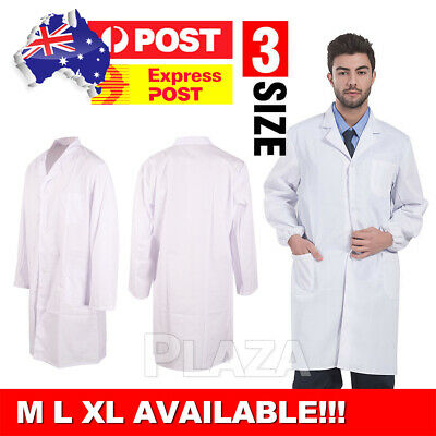 White Lab Coat Men Women Medical Clinic Vet Doctor Scientist Long Sleeve Uniform