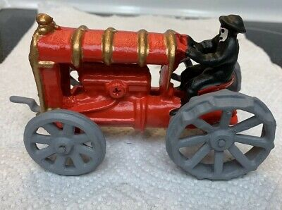 Antique Early 1900s Cast Iron Arcade Toy Farm Tractor with Driver Refinished