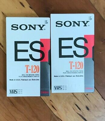 Lot of 2 BRAND NEW & SEALED Sony ES T-120 Superior Blank VHS Video Tapes