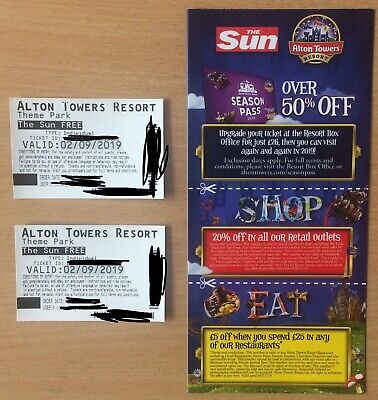 Alton Towers Tickets x2 Monday 2nd September