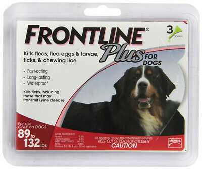 Frontline Plus Flea/Tick Control for 88-132lb Dogs & Puppies - 3 Doses