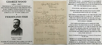 Wall Street Stock Exchange Investment Banker Nyc Re Developer Letter Signed 1890