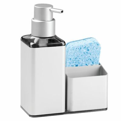 mDesign Rust Free Aluminum Kitchen Sink Countertop Soap Dispenser/Caddy - Silver
