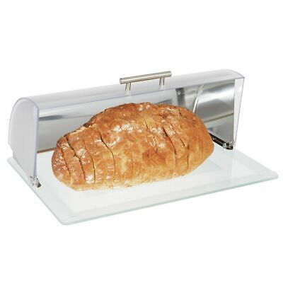 mDesign Metal Kitchen Countertop Bread Box, Roll Top Lid, Glass Base - Brushed