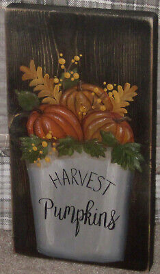 *~*primitive*~* Hp Folk Art Prim Pail * Pumpkins * Harvest Pumpkins *~* Board