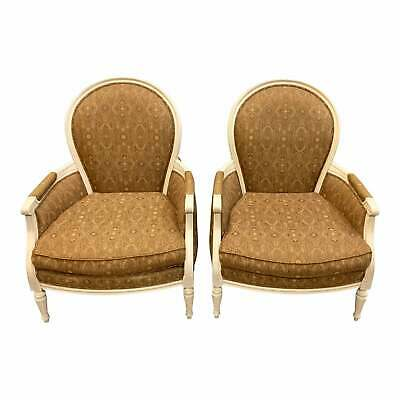 Pair of French Louis XVI Carved Mahogany Accent Chairs or Bergère Chairs.