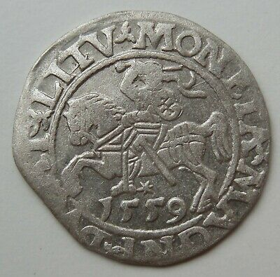 1559 Vilnius Medieval Hammered Silver Coin Extra Rare!