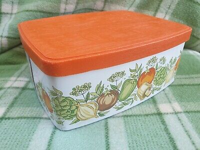 Vintage 1970's Willow Canister Biscuit Tin Spice Of Life Cake 70s Retro metal