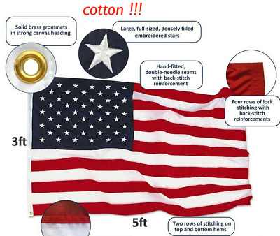 3x5 Ft Cotton American USA US Flag Sewn Stripes EMBROIDERED Stars Brass Grommets