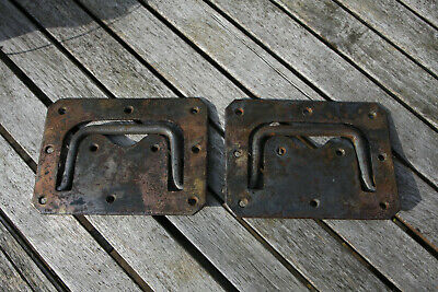 2 Large HAND FORGED Antique Brass WW2 Campaign Chest Box Recessed Handles Trunk