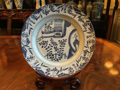 A Large Chinese Kangxi Blue and White Porcelain Plate.
