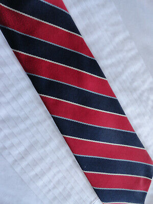 Vintage Hardy Amies London Silk Burgundy Blue White and Silver Striped