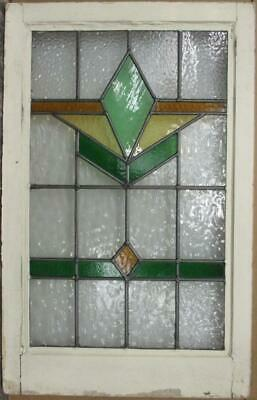 "MIDSIZE OLD ENGLISH LEADED STAINED GLASS WINDOW Stunning Geometric 20.25"" x 32"""