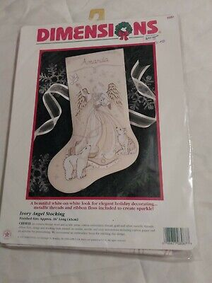 Dimensions IVORY ANGEL Crewel Christmas Stocking Kit #8087 16IN NEW