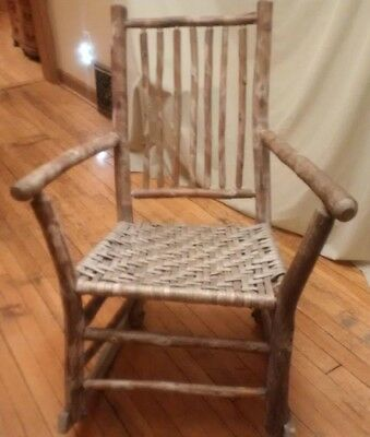 Antique Old Hickory Martinsville Indiana Rocking Chair 7 spindle weaved seat