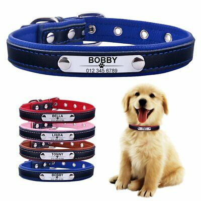 Personalized Dog Collar Adjustable Leather Custom Engraved Dogs ID Name Tag XS-L