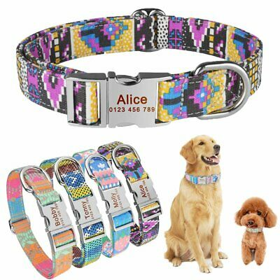 Personalized Dog Collar Fabric Free Engraved Puppy Name Adjustable Collars S M L