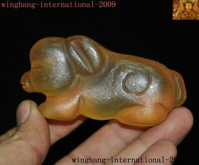 Chinese Hongshan Culture Natural crystal carved wealth animal pig statue Pendant