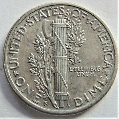 1943s UNITED STATES, Mercury Dime grading About UNCIRCULATED.